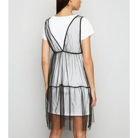 Cameo Rose White Mesh Overlay Slogan Dress New Look