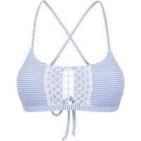 Pale Blue Stripe Crochet Crop Bikini Top New Look