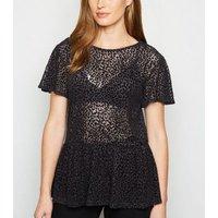 Black Flocked Animal Print Mesh Peplum Top New Look