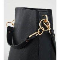 Black Faux Snake Bucket Bag New Look Vegan