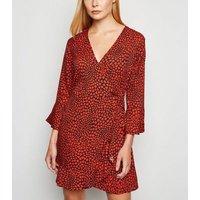 Influence-Red-Heart-Print-Flare-Sleeve-Mini-Wrap-Dress-New-Look