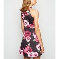 Mela Black Rose Halterneck Skater Mini Dress New Look