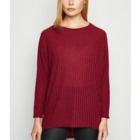 Burgundy Fine Knit Ribbed Batwing Sleeve Top New Look