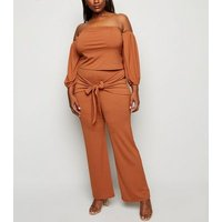 Just Curvy Rust Ribbed Tie Front Trousers New Look