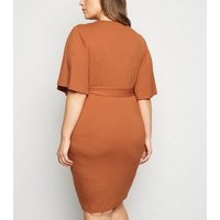 Just-Curvy-Rust-Bell-Sleeve-Belted-Dress-New-Look