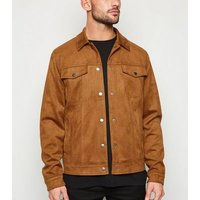 Tan Suedette Trucker Jacket New Look