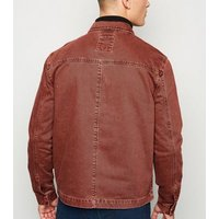 Burgundy Utility Denim Jacket New Look