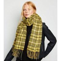 Yellow Heritage Check Tassel Trim Scarf New Look