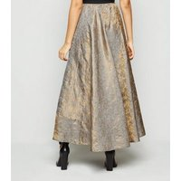 Nesavaali Silver Metallic Jacquard Maxi Skirt New Look