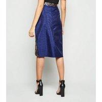 Nesavaali Navy Metallic Jacquard Wrap Skirt New Look