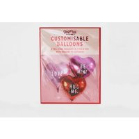 Ginger Ray 6 Pack Red Heart Customisable Foil Balloons New Look