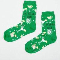 Mint Green Let The Fun Be Gin Slogan Christmas Socks New Look