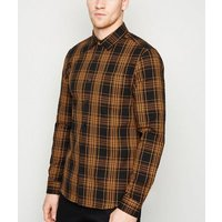 Men's Orange Check Long Sleeve Shirt New Look
