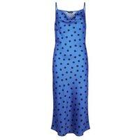 Blue Satin Spot Midi Slip Dress New Look