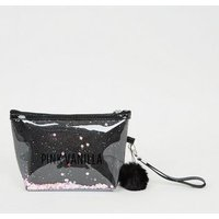 Pink Vanilla Black Sequin Make-Up Bag New Look