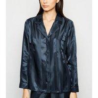 Navy Stripe Satin Revere Collar Pyjama Shirt New Look