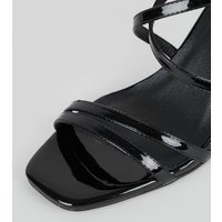 Black Patent Strappy Stiletto Sandals New Look Vegan