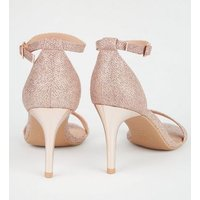 Rose Gold Glitter 2-Part Stiletto Heels New Look