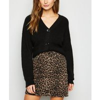 Brown Leopard Print Denim Mini Skirt New Look