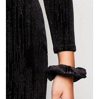 Girls Black Velvet Diamante Cold Shoulder Dress New Look