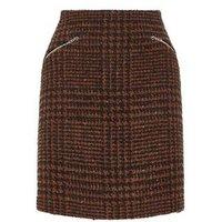 Rust Check Tweed Zip Pocket Mini Skirt New Look