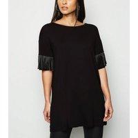 Black Stud Suedette Tassel Sleeve Top New Look