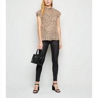 Camel Leopard Print Roll Neck Blouse New Look