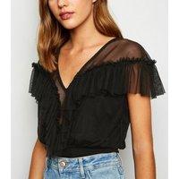 Cameo Rose Black Mesh Frill Bodysuit New Look
