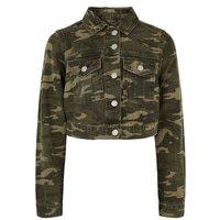 Girls Green Camo Denim Jacket New Look