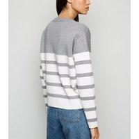 Light Grey Colour Block Stripe Jumper New Look