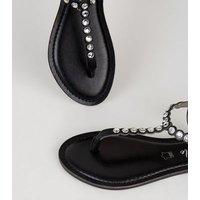 Black Leather Gem Embellished Flat Sandals New Look