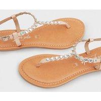 Pale Pink Leather Gem Embellished Flat Sandals New Look