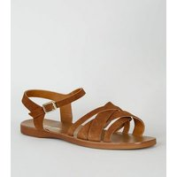Wide Fit Tan Suede Strappy Flat Sandals New Look
