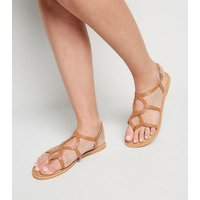 Tan Leather Twist Strappy Sandals New Look