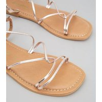 Rose Gold Leather Strappy Flat Sandals New Look