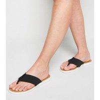 Wide Fit Black Leather Elastic Strap Flip Flops New Look