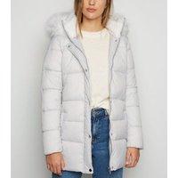 Urban Bliss Pale Grey Faux Fur Trim Puffer Jacket New Look