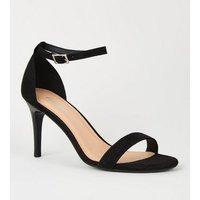 Black Suedette 2 Part Stiletto Heels New Look Vegan