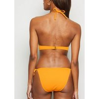 Yellow Ribbed Tie Side Bikini Bottoms New Look