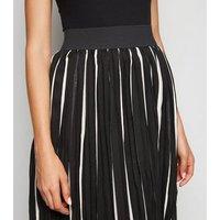 Blue Vanilla Black Stripe Pleated Midi Skirt New Look