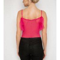 NaaNaa Pink Mesh Ruffle Bodysuit New Look