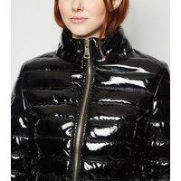 Cameo Rose Black Coated Faux Fur Trim Puffer Jacket New Look