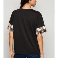 Cameo Rose Black Sequin Tassel Trim T-Shirt New Look