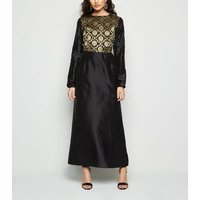 Nesavaali Black Metallic Jacquard Maxi Dress New Look