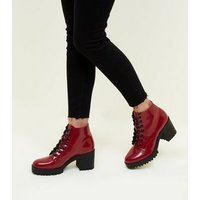 Dark Red Lace Up Chunky Block Heel Boots New Look
