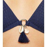 Navy Glitter Tassel Triangle Bikini Top New Look