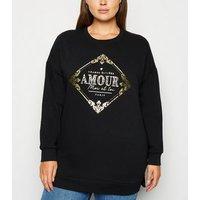 Curves Black Metallic Paris Slogan Sweatshirt New Look
