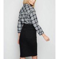 Black Denim Pencil Skirt New Look