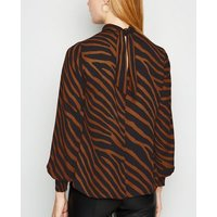 Rust Zebra Print Roll Neck Blouse New Look