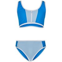 Girls Blue Colour Block Crop Bikini Set New Look